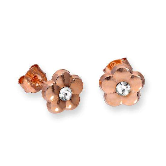9ct Rose Gold & Clear CZ Crystal Flat Flower Stud Earrings