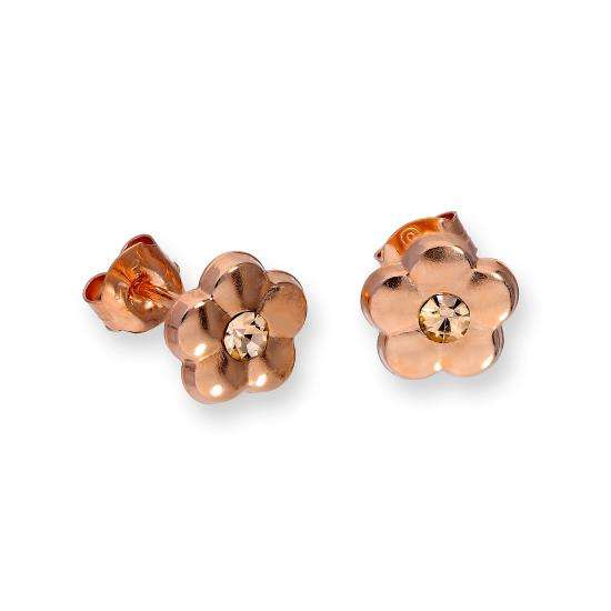 9ct Rose Gold & Orange CZ Crystal Flat Flower Stud Earrings