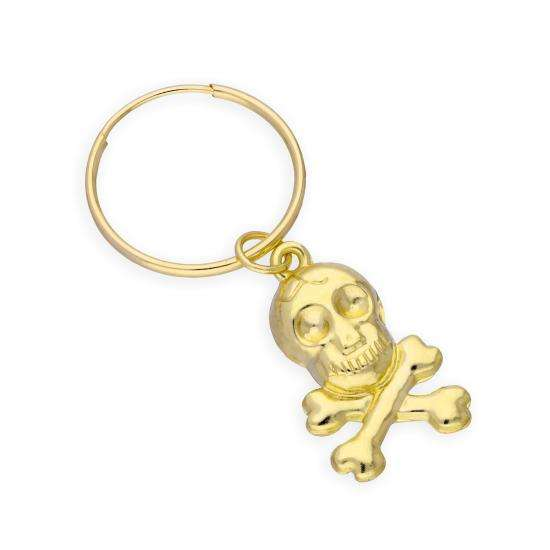 9ct Yellow Gold Skull & Crossbones Single Hoop Earring