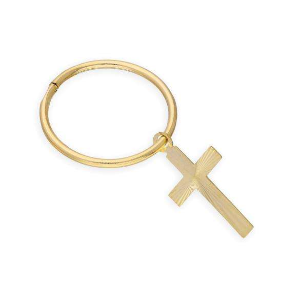 9ct Yellow Gold Cross Single Hoop Earring