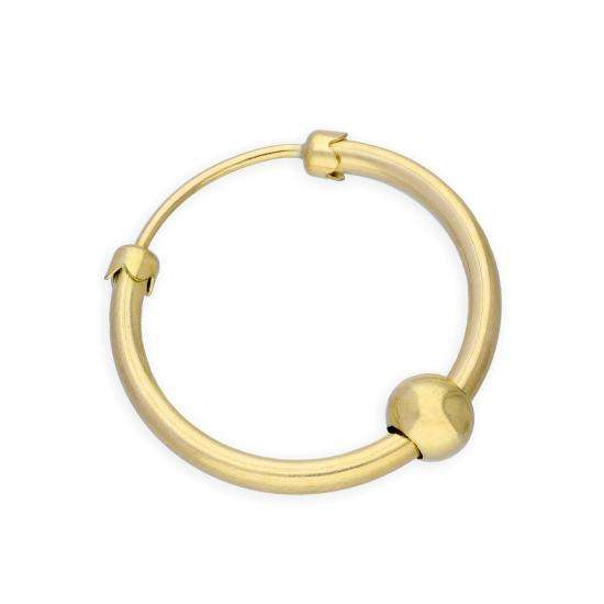 9ct Yellow Gold Thick Single Hoop Earring w Ball