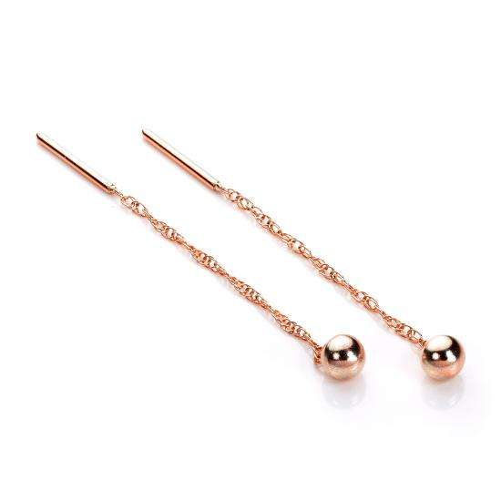 9ct Rose Gold 4mm Ball Pull Through Earrings