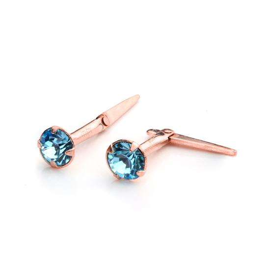 9ct Rose Gold Andralok Stud Earrings with 3mm Aquamarine CZ Crystal