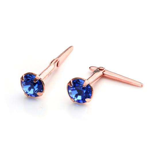 9ct Rose Gold Andralok Stud Earrings with 3mm Sapphire CZ Crystal