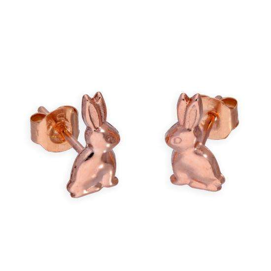 9ct Rose Gold Rabbit Stud Earrings