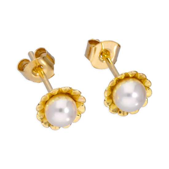 9ct Gold & 4mm Cultured Pearl Flower Stud Earrings