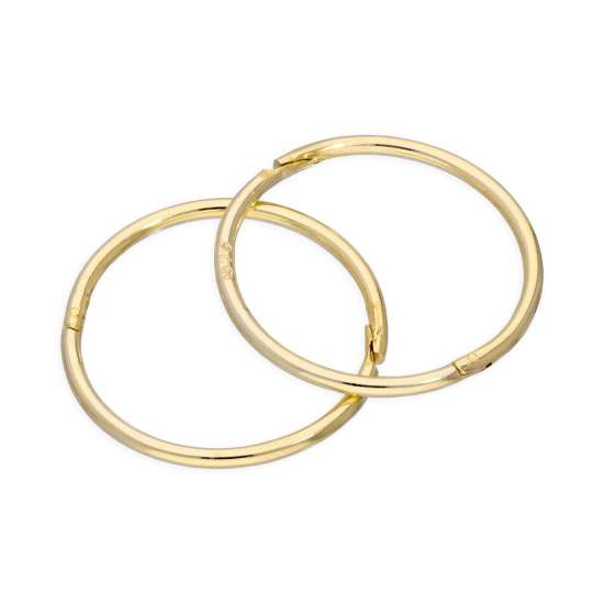 9ct Yellow Gold 14mm Sleeper Hinged Hoop Earrings