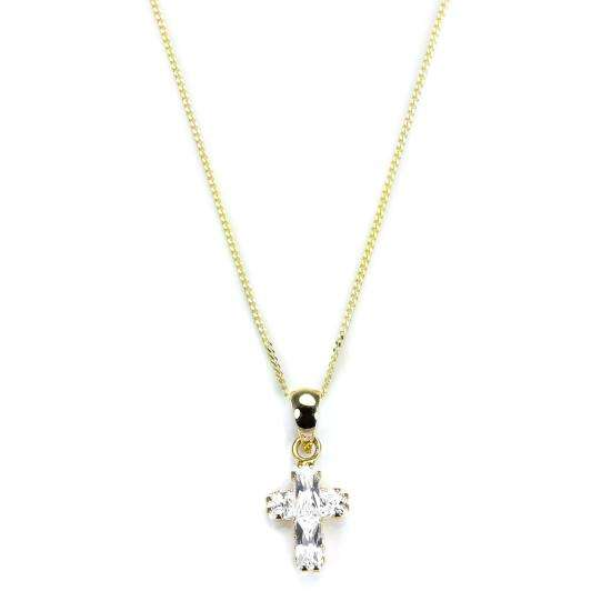 9ct Gold CZ Crystal Cross Pendant