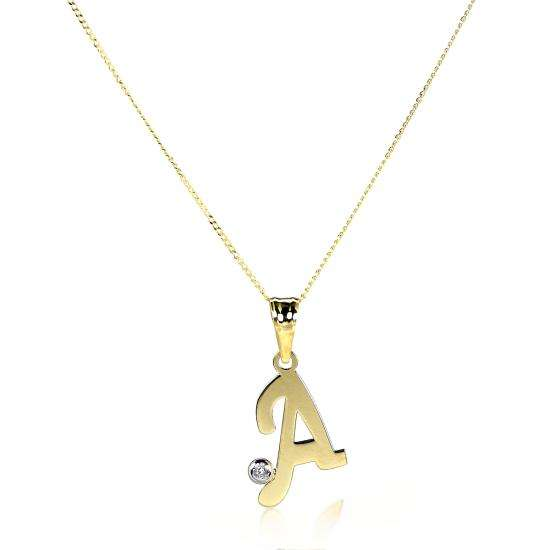 Light 9ct Gold Letter Pendant with CZ Crystal