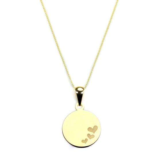 9ct Yellow Gold Round Pendant with Hearts