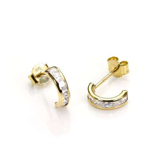 9ct Gold & CZ Crystal Huggie Stud Earrings