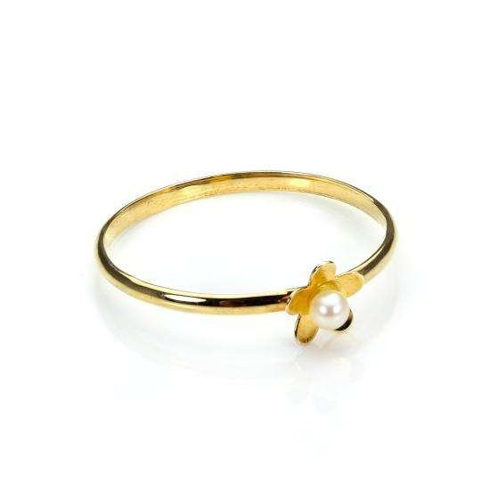 9ct Gold Stacking Ring with Freshwater Pearl Flower