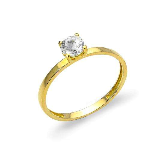 9ct Gold & 5mm CZ Crystal Band Stacking Ring