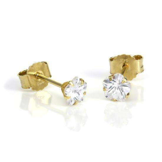 9ct Gold & 4mm Clear CZ Crystal Flower Stud Earrings