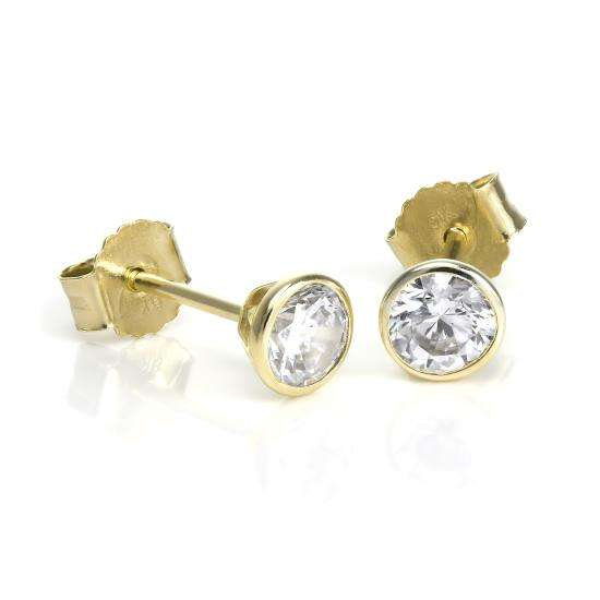 9ct Gold & 4mm Round Clear CZ Crystal Rubover Stud Earrings