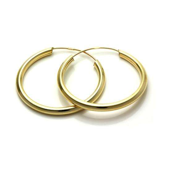 9ct Gold 25mm Sleeper Tube Hoop Earrings