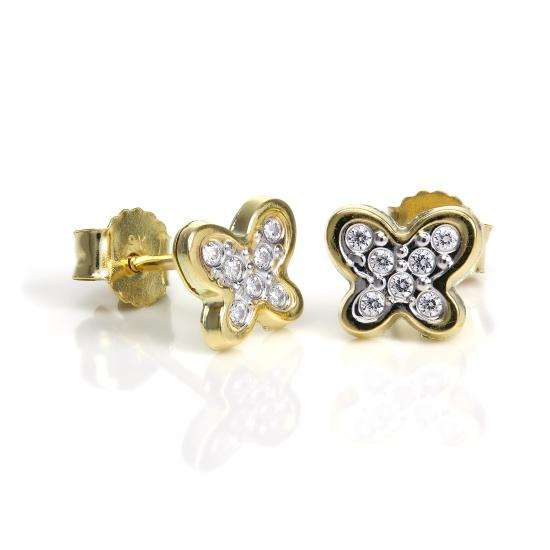 9ct Gold & Clear CZ Crystal Encrusted Butterfly Stud Earrings