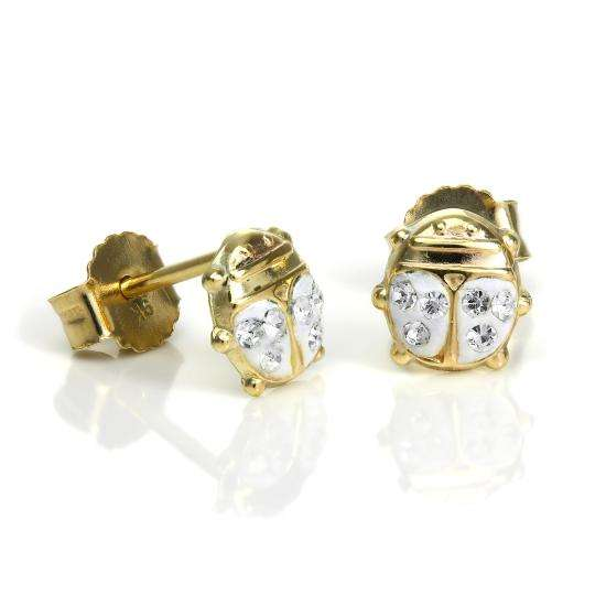 9ct Gold & CZ Crystal Ladybird Stud Earrings