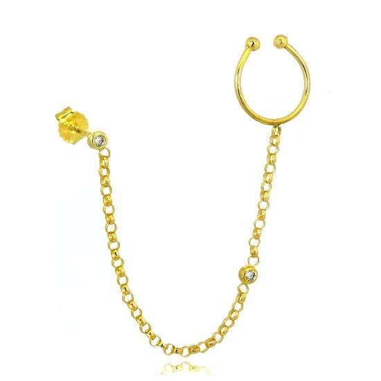 9ct Gold Ear Cuff & Stud Single Earring with Belcher Chain