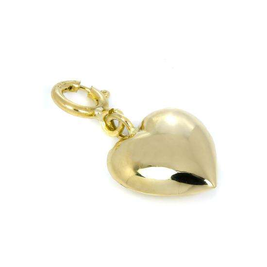 9ct Gold Puffed Heart Clip on Charm