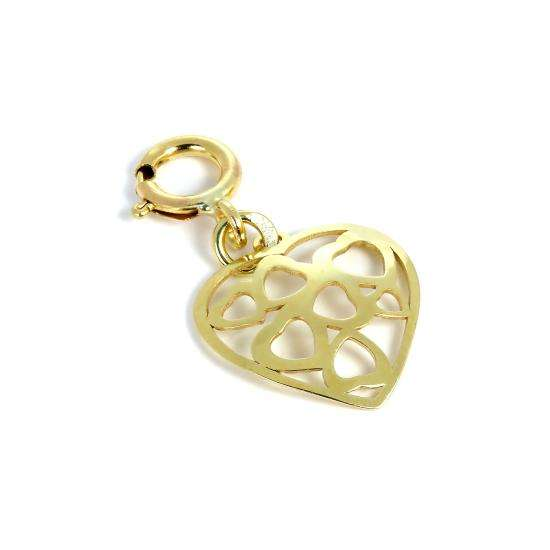9ct Gold Open Hearts in Heart Clip on Charm