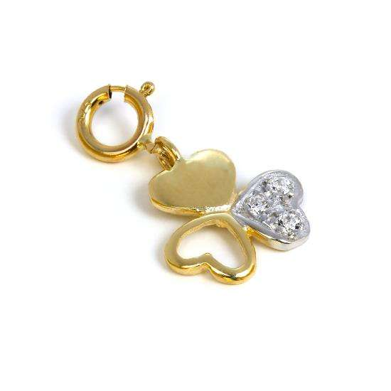 9ct Gold & CZ Crystal Triple Heart Shamrock Charm