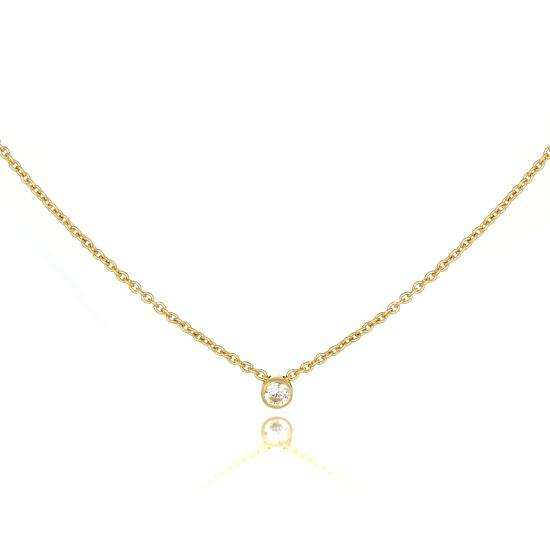 9ct Gold Fine Belcher Chain 18 Inch Necklace with 2mm Clear CZ Crystal
