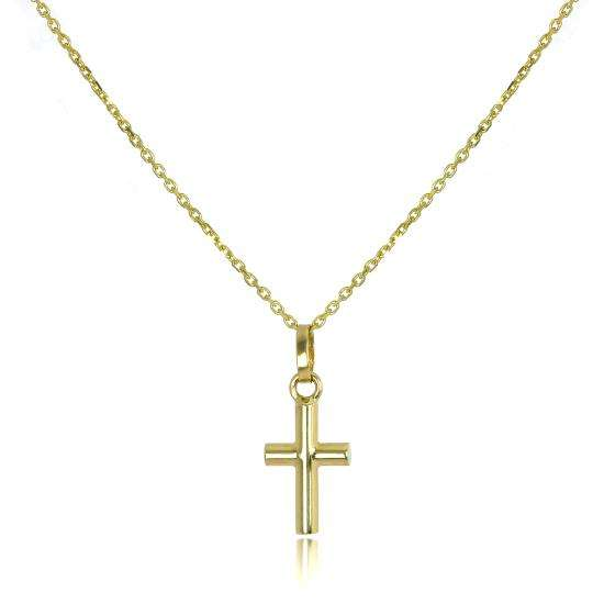 9ct Gold Small Cross Pendant on 16 - 20 Inch Chain
