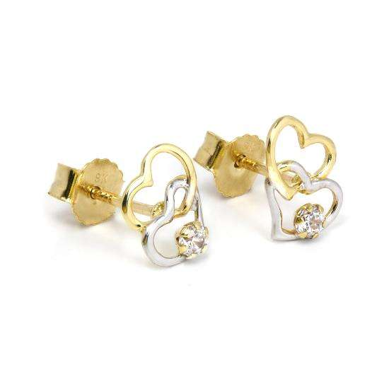 9ct Yellow & White Gold Open Heart Stud Earrings with CZ Crystal