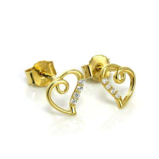 9ct Gold & CZ Crystal Open Heart Stud Earrings