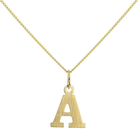 Lightweight 9ct Gold Initial Letter A Necklace 16 - 20 Inches