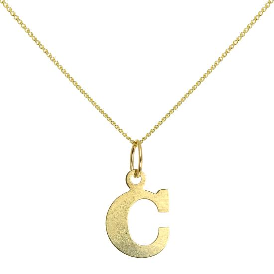 Lightweight 9ct Gold Initial Letter C Necklace 16 - 20 Inches
