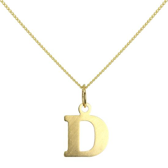 Lightweight 9ct Gold Initial Letter D Necklace 16 - 20 Inches