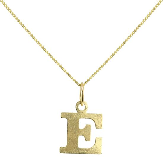 Lightweight 9ct Gold Initial Letter E Necklace 16 - 20 Inches