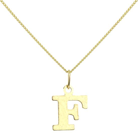 Lightweight 9ct Gold Initial Letter F Necklace 16 - 20 Inches