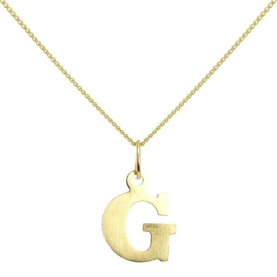 Lightweight 9ct Gold Initial Letter G Necklace 16 - 20 Inches