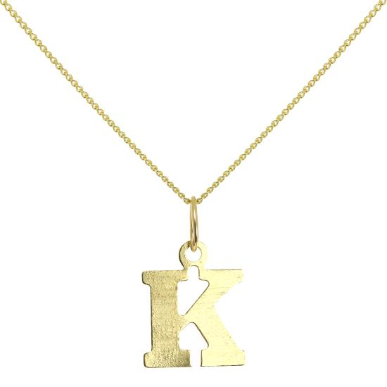 Lightweight 9ct Gold Initial Letter K Necklace 16 - 20 Inches