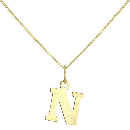 Lightweight 9ct Gold Initial Letter N Necklace 16 - 20 Inches