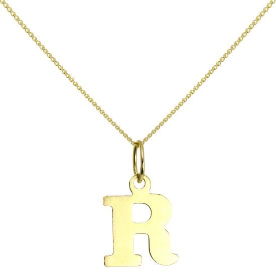Lightweight 9ct Gold Initial Letter R Necklace 16 - 20 Inches