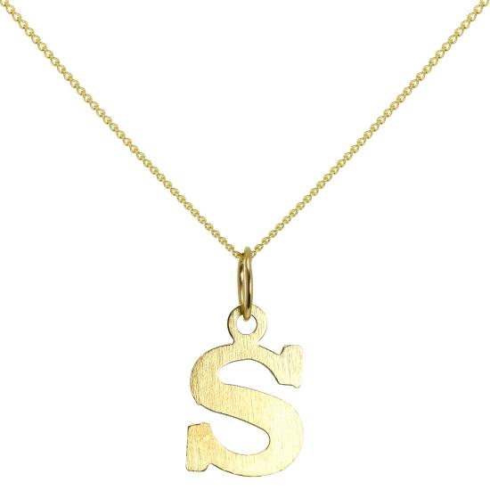 Lightweight 9ct Gold Initial Letter S Necklace 16 - 20 Inches