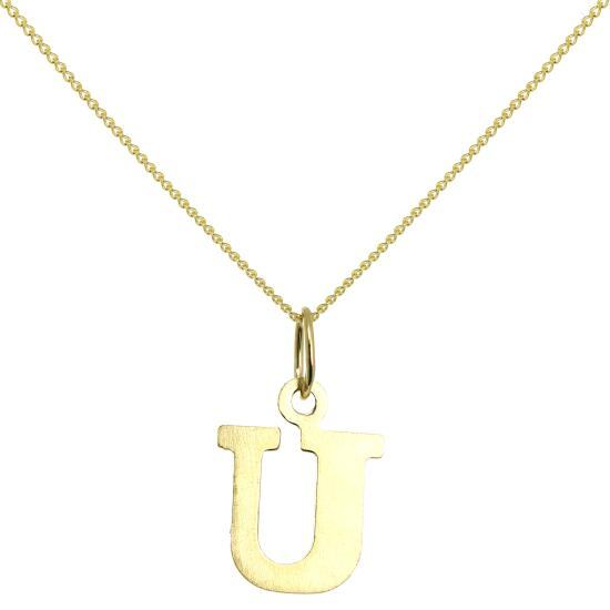 Lightweight 9ct Gold Initial Letter U Necklace 16 - 20 Inches