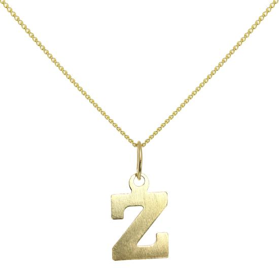Lightweight 9ct Gold Initial Letter Z Necklace 16 - 20 Inches