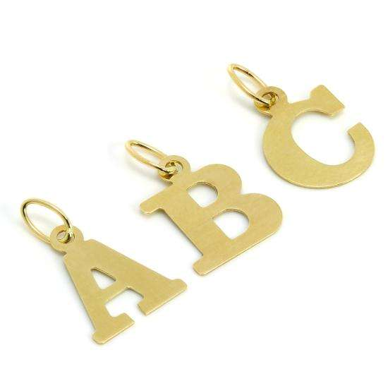 Lightweight Small 9ct Gold Initial Letter Charms A - Z