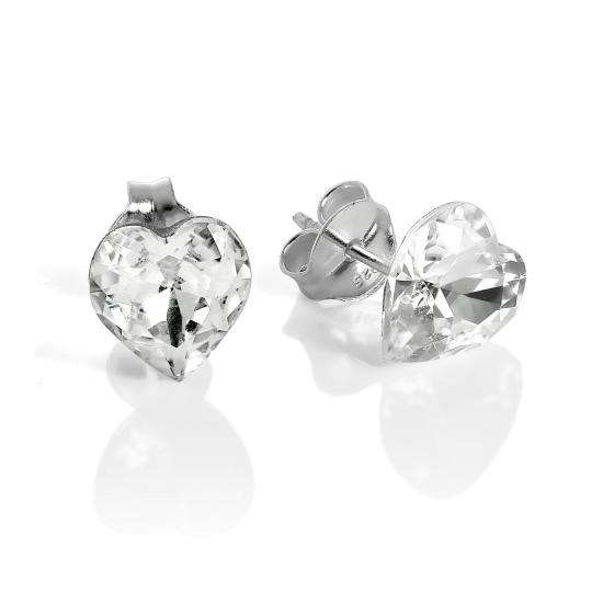 Sterling Silver & Clear CZ Crystal Heart Stud Earrings