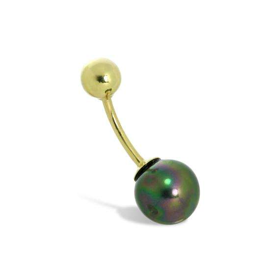 9ct Gold & 8mm Haematite Ball End Belly Bar Piercing