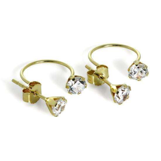 9ct Gold Double 4mm Round CZ Crystal Stud Earrings