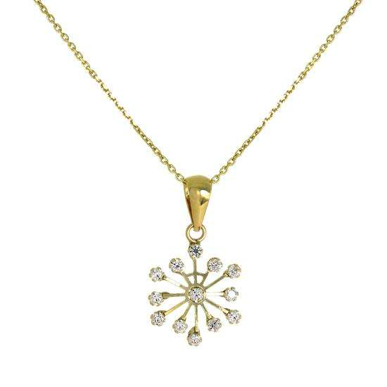 9ct Gold & CZ Crystal Snowflake Necklace 16 - 20 Inches