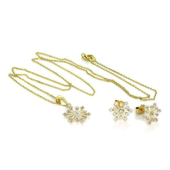 9ct Gold & CZ Crystal Snowflake Pendant & Stud Earrings Set