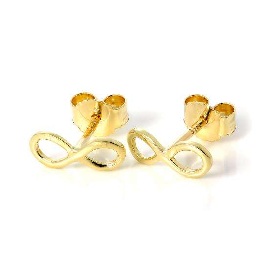 9ct Gold Infinity Loop Stud Earrings