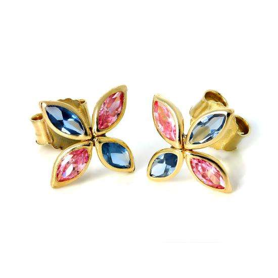9ct Gold & CZ Crystal Butterfly Stud Earrings